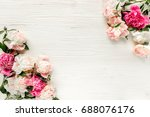 border frame made of pink and... | Shutterstock . vector #688076176