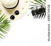 traveler accessories  tropical... | Shutterstock . vector #688076938