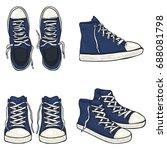 vector set of cartoon high blue ... | Shutterstock .eps vector #688081798