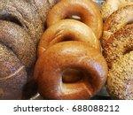 variety bagels arrange into... | Shutterstock . vector #688088212