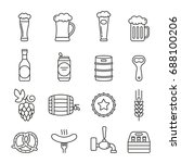 beer icons  thin monochrome... | Shutterstock .eps vector #688100206