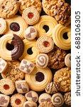 background of cookies assorted... | Shutterstock . vector #688106305