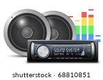 car audio with speakers. vector ...   Shutterstock .eps vector #68810851