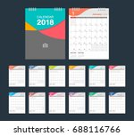 2018 calendar. desk calendar... | Shutterstock .eps vector #688116766