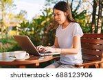 young business woman working on ... | Shutterstock . vector #688123906