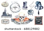 watercolor halloween label set. ... | Shutterstock . vector #688129882