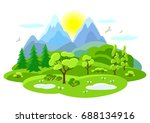 spring landscape with trees ... | Shutterstock .eps vector #688134916