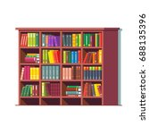big library wooden bookcase... | Shutterstock .eps vector #688135396