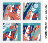 hand drawn creative invitation... | Shutterstock .eps vector #688139002