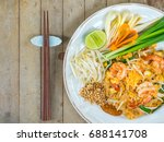 famous food in thai style phad... | Shutterstock . vector #688141708