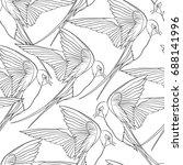 swallow  birds. seamless... | Shutterstock .eps vector #688141996