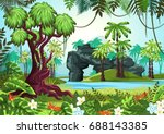 jungle forest panorama with... | Shutterstock .eps vector #688143385
