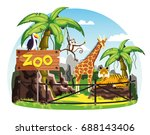 animals behind fence and zoo... | Shutterstock .eps vector #688143406