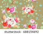 seamless pattern with delicate... | Shutterstock .eps vector #688154692