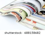 stack of magazines on white... | Shutterstock . vector #688158682
