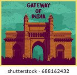 indian monument gateway of india | Shutterstock .eps vector #688162432