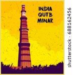 indian monument  qutb minar | Shutterstock .eps vector #688162456