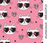 seamless pink cat with leopard... | Shutterstock .eps vector #688162915