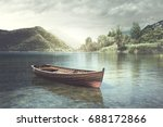 wooden boat floating in a calm... | Shutterstock . vector #688172866