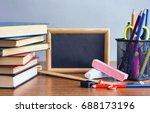 school accessories  stack of
