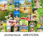 children's collage summer... | Shutterstock . vector #688192306