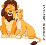 cartoon lion couple | Shutterstock .eps vector #688195726