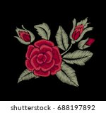 roses and leaves. embroidery.... | Shutterstock .eps vector #688197892