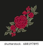 Stock vector embroidered red flowers roses and leaves fashion design vector floral print 688197895