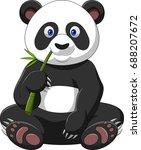 cartoon panda eating bamboo | Shutterstock . vector #688207672