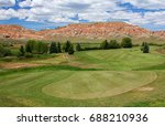 panoramic view of golf course...   Shutterstock . vector #688210936