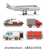 set of means of transportation | Shutterstock .eps vector #688214356