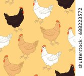 hand drawn seamless pattern... | Shutterstock . vector #688223572