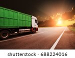 white truck with the green... | Shutterstock . vector #688224016