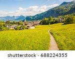 beautiful view of green alpine... | Shutterstock . vector #688224355