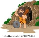 cartoon caveman inventing stone ... | Shutterstock .eps vector #688224445