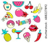 girlish patch badges with... | Shutterstock .eps vector #688227892