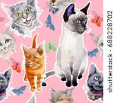 cat wild animal pattern in a...   Shutterstock . vector #688228702