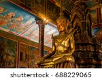 buddha statue inside the pagoda ...   Shutterstock . vector #688229065