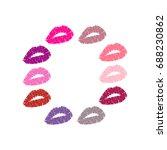 lipstick kiss. kiss print....   Shutterstock .eps vector #688230862