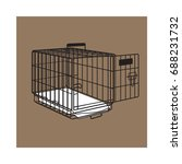 metal wire cage  crate for pet  ... | Shutterstock .eps vector #688231732