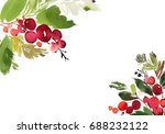 christmas watercolor card with... | Shutterstock . vector #688232122