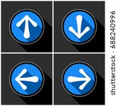 four white  blue arrows with... | Shutterstock .eps vector #688240996
