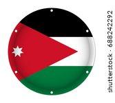 round metallic flag of jordan... | Shutterstock .eps vector #688242292