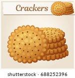 round crackers cookies. cartoon ... | Shutterstock .eps vector #688252396