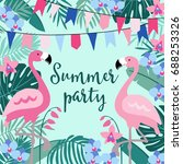 summer birthday party greeting... | Shutterstock .eps vector #688253326