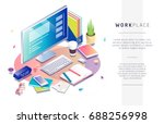 isometric concept of workplace... | Shutterstock .eps vector #688256998