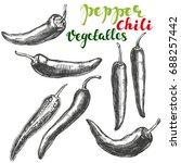 chili peppers vegetable set... | Shutterstock .eps vector #688257442