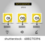 three yellow infographic... | Shutterstock .eps vector #688270396
