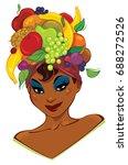 woman is wearing a fruit hat on ... | Shutterstock .eps vector #688272526
