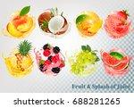 set of fruit juice splash .... | Shutterstock .eps vector #688281265